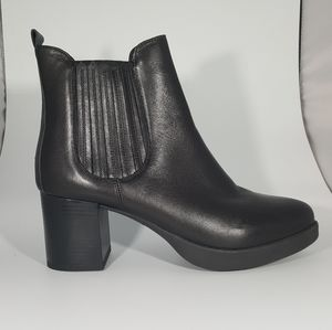 The Flexx Black Leather Embelished Bootie